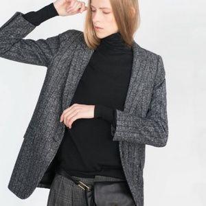 Zara Herringbone Wool Blend Blazer Size M